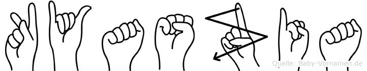 Kyaszia im Fingeralphabet der Deutschen Gebärdensprache