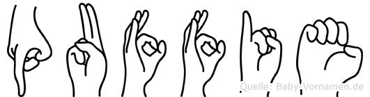 Puffie im Fingeralphabet der Deutschen Gebärdensprache