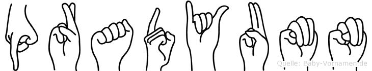 Pradyumn im Fingeralphabet der Deutschen Gebärdensprache