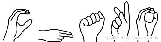 Chako im Fingeralphabet der Deutschen Gebärdensprache