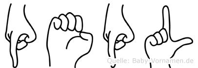 Pepl im Fingeralphabet der Deutschen Gebärdensprache