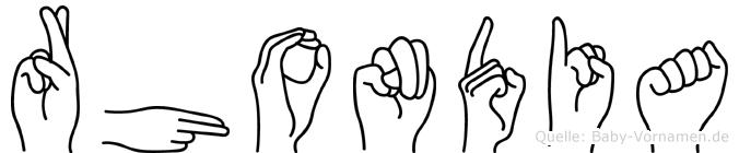 Rhondia im Fingeralphabet der Deutschen Gebärdensprache