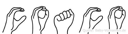 Coaco im Fingeralphabet der Deutschen Gebärdensprache