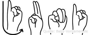 Juni in Fingersprache f�r Geh�rlose