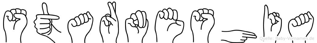 Starneshia im Fingeralphabet der Deutschen Gebärdensprache