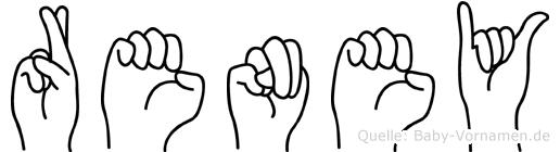 Reney im Fingeralphabet der Deutschen Gebärdensprache