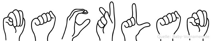 Macklan im Fingeralphabet der Deutschen Gebärdensprache