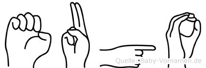 Eugo im Fingeralphabet der Deutschen Gebärdensprache