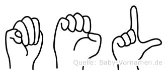 Mel im Fingeralphabet der Deutschen Gebärdensprache