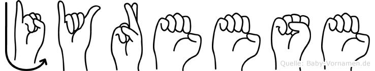 Jyreese im Fingeralphabet der Deutschen Gebärdensprache