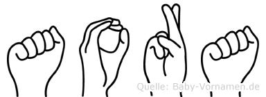 Aora im Fingeralphabet der Deutschen Gebärdensprache