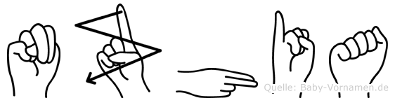 Nzhia im Fingeralphabet der Deutschen Gebärdensprache