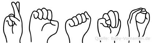 Reano im Fingeralphabet der Deutschen Gebärdensprache