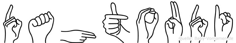 Dahtoudi im Fingeralphabet der Deutschen Gebärdensprache