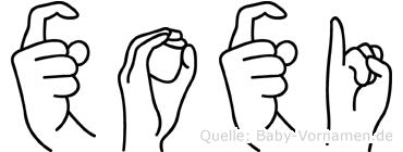Xoxi im Fingeralphabet der Deutschen Gebärdensprache