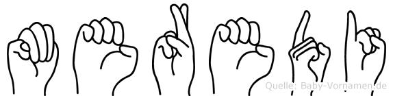 Meredi im Fingeralphabet der Deutschen Gebärdensprache