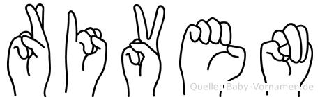 Riven im Fingeralphabet der Deutschen Gebärdensprache