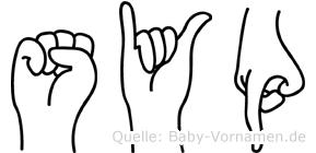 Syp im Fingeralphabet der Deutschen Gebärdensprache