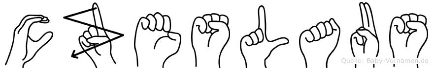 Czeslaus im Fingeralphabet der Deutschen Gebärdensprache