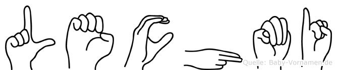 Lechmi im Fingeralphabet der Deutschen Gebärdensprache