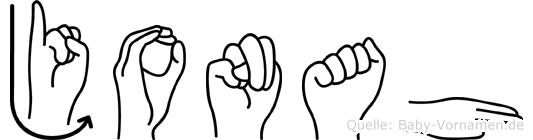 Jonah im Fingeralphabet der Deutschen Gebärdensprache