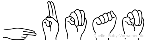 Human im Fingeralphabet der Deutschen Gebärdensprache
