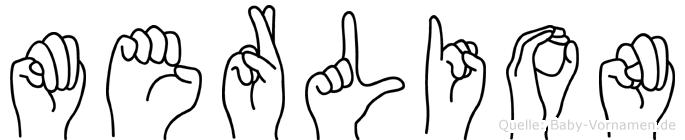 Merlion im Fingeralphabet der Deutschen Gebärdensprache
