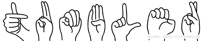 Tumbler im Fingeralphabet der Deutschen Gebärdensprache