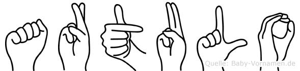 Artulo im Fingeralphabet der Deutschen Gebärdensprache