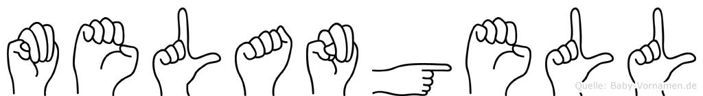Melangell im Fingeralphabet der Deutschen Gebärdensprache