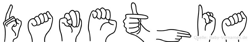 Danethia im Fingeralphabet der Deutschen Gebärdensprache