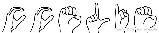 Cäcelie im Fingeralphabet der Deutschen Gebärdensprache