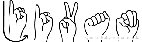 Jivan im Fingeralphabet der Deutschen Gebärdensprache