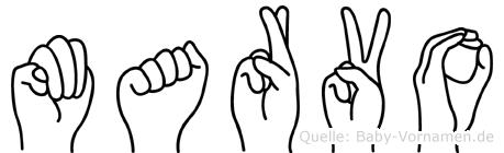 Marvo im Fingeralphabet der Deutschen Gebärdensprache
