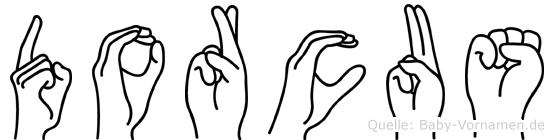 Dorcus im Fingeralphabet der Deutschen Gebärdensprache