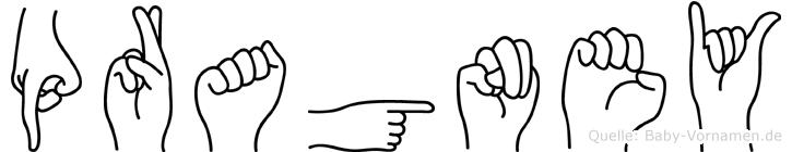 Pragney im Fingeralphabet der Deutschen Gebärdensprache