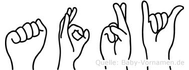 Afry im Fingeralphabet der Deutschen Gebärdensprache