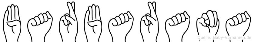 Barbarana im Fingeralphabet der Deutschen Gebärdensprache