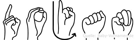 Dojan im Fingeralphabet der Deutschen Gebärdensprache