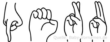 Peru im Fingeralphabet der Deutschen Gebärdensprache