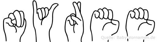 Nyree in Fingersprache für Gehörlose