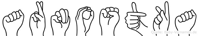 Arnostka im Fingeralphabet der Deutschen Gebärdensprache