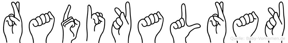 Radikalrak im Fingeralphabet der Deutschen Gebärdensprache