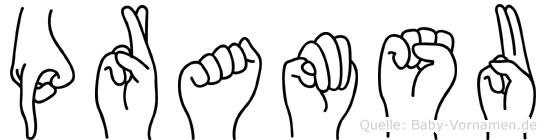 Pramsu im Fingeralphabet der Deutschen Gebärdensprache