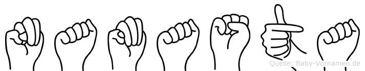 Namasta im Fingeralphabet der Deutschen Gebärdensprache