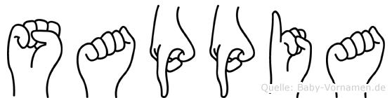 Sappia im Fingeralphabet der Deutschen Gebärdensprache