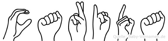 Carida im Fingeralphabet der Deutschen Gebärdensprache