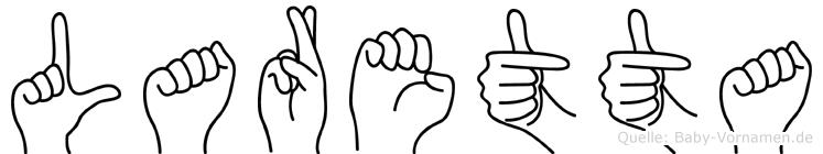 Laretta im Fingeralphabet der Deutschen Gebärdensprache