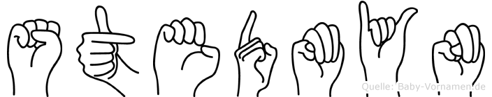 Stedmyn im Fingeralphabet der Deutschen Gebärdensprache