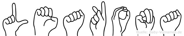 Leakona im Fingeralphabet der Deutschen Gebärdensprache